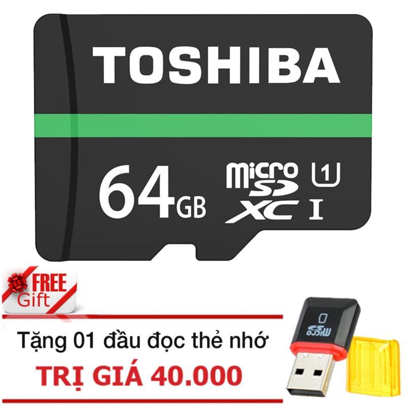 Thẻ nhớ MicroSDHC Toshiba M202 UHS-I U1 64GB 80MB/s (Đen)+đầu đọc thẻ nhớ micro PT