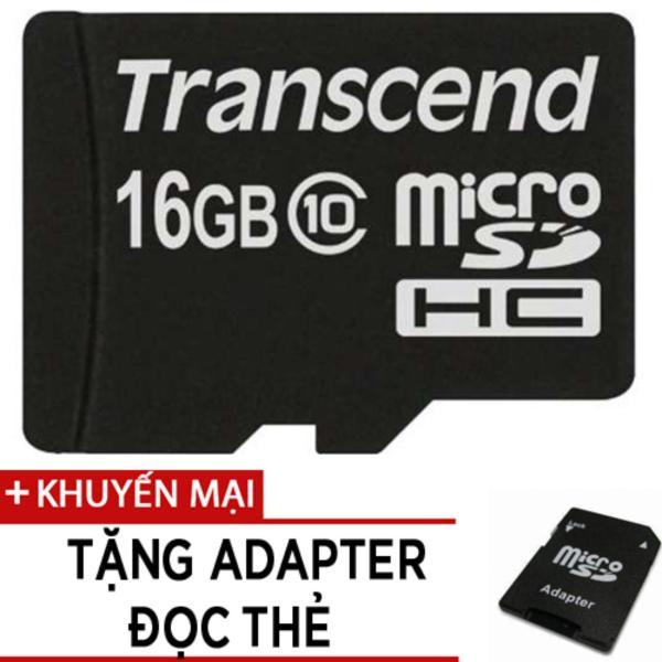 Thẻ Nhớ MicroSDHC Transcend Premium 16GB Class 10 tặng adapter đọc thẻ