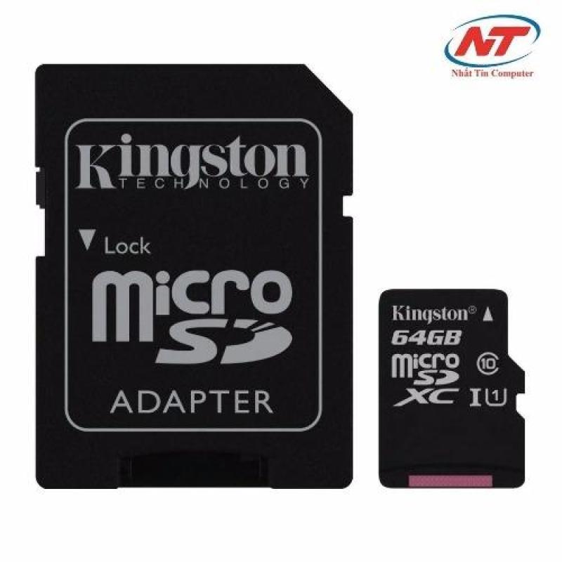 Thẻ Nhớ MicroSDXC Kingston 64GB Class 10 U1 80MB/s Kèm Adapter