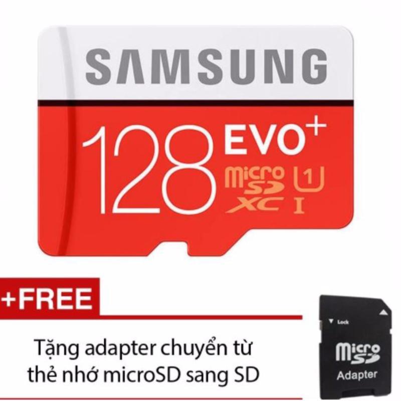 Thẻ nhớ MicroSDXC Samsung EVO Plus 128GB 80MB/s (Đỏ) +Tặng 1 adapter chuyển từ thẻ nhớ microSD sang SD - Hãng Phân Phối Chính Thức