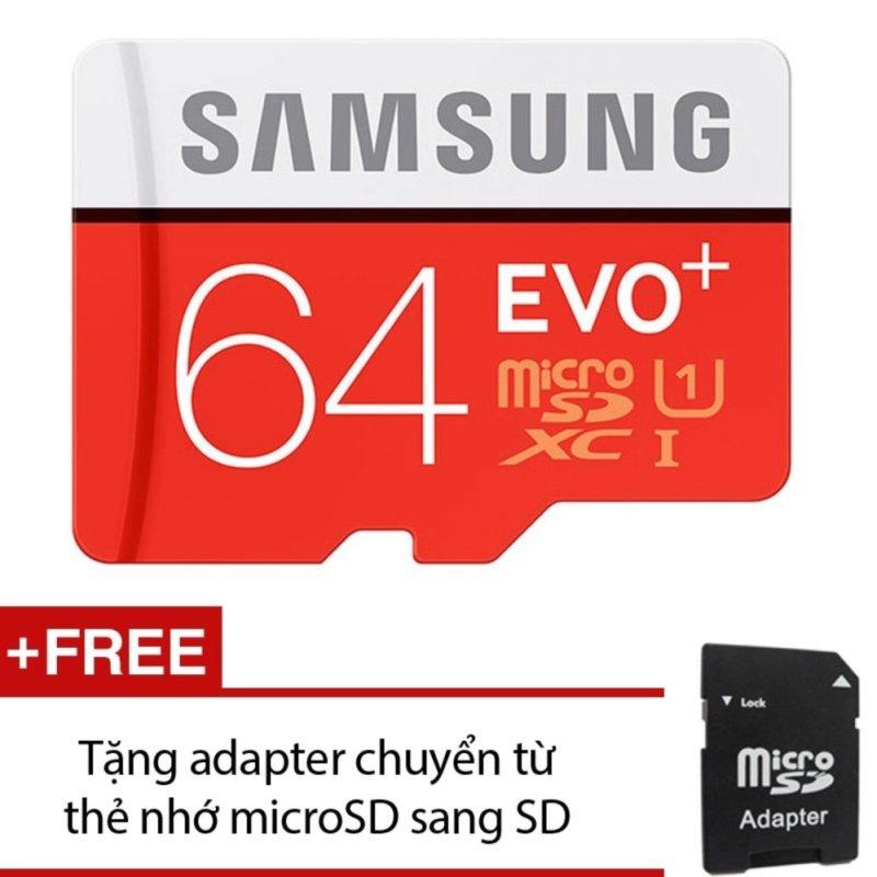 Thẻ nhớ MicroSDXC Samsung EVO Plus 64GB 80MB/s (Đỏ) +Tặng kèm 01 adapter chuyển từ thẻ nhớ microSD sang SD