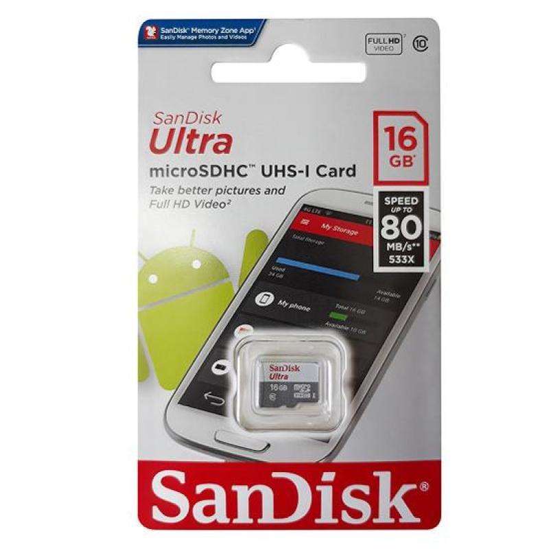 Thẻ nhớ Sandisk Ultra 16GB, 80MB/s