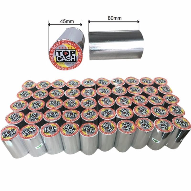 Thùng 50 cuộn Giấy in bill nhiệt bọc giấy bạc Topcash K80mm x 45mm