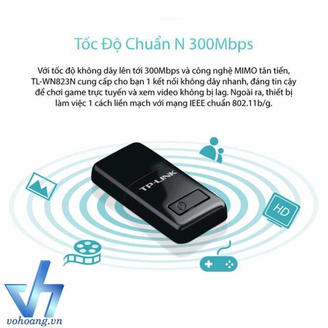 Tp-Link - Tl-Wn823N - Usb Kết Nối Wi-Fi Chuẩn N 300Mbps Nhỏ Gọn