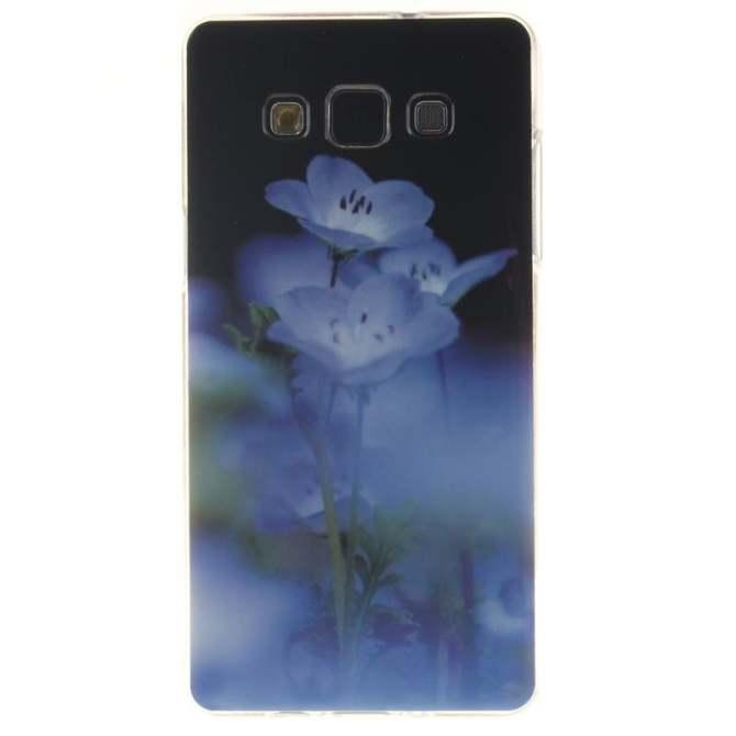 TPU Flexible Soft Case for Samsung Galaxy A3 A300 A300H Blue Flower intl