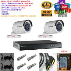 Mua Trọn Bộ 1 Đầu Ghi Hinh Camera 4 Kenh Full Hd 1080P Cao Cấp Hikvision Ds 7204Hghi F1 2 Camera Full Hd 1080P Ds 2Ce16D0T Irp 1 Ổ Cứng Seagate Wd 320Gb 2 Nguồn Nhện Xịn 12V 4 Rắc Bnc 1 Day Hdmi Hikvision