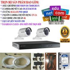 Giá Bán Trọn Bộ 2 Camera Đặc Biệt Hikvision Tuyệt Đẹp 1 Đầu Ghi Ds 7204Hghi F1 2 Camera Ds 2Ce16C0T Ir 1 Ổ Cứng 160Gb 2 Nguồn 12V 1 Hdmi 2 Cap Liền Nguồn 15M Rẻ Nhất