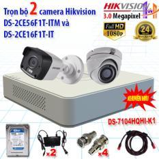 Trọn bộ 2 camrea 3.0MP DS-2CE56F1T-ITM + DS-2CE16F1T-IT + DS-7104HQHI-K1