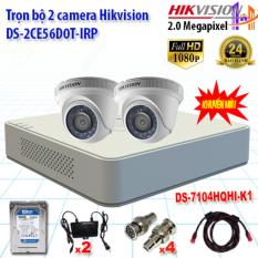 Trọn bộ 2 camrea 2.0MP DS-2CE56D0T-IRP + DS-7104HQHI-K1