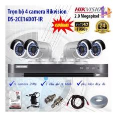 Trọn bộ 4 camera Hikvision DS-2CE16D0T-IR và DS-7204HQHI-K1