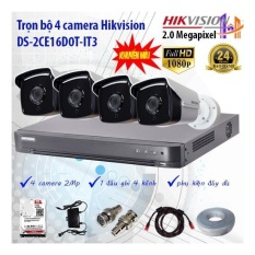 Trọn bộ 4 camera Hikvision DS-2CE16D0T-IT3 và DS-7204HUHI-K1