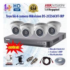 Trọn bộ 4 camera Hikvision DS-2CE56C0T-IRP và DS-7204HUHI-K1