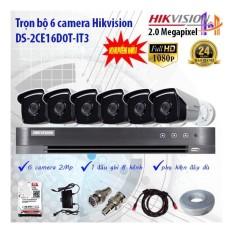 Trọn bộ 6 camera Hikvision DS-2CE16D0T-IT3 và DS-7208HUHI-K1
