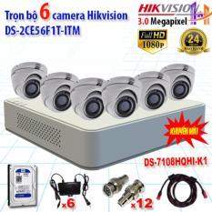 Trọn bộ 6 camrea 3.0MP DS-2CE56F1T-ITM + DS-7108HQHI-K1