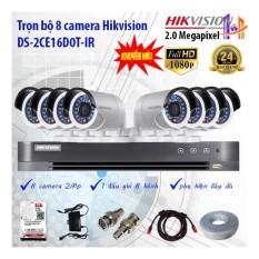 Trọn bộ 8 camera Hikvision DS-2CE16D0T-IR và DS-7208HQHI-K1
