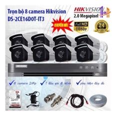 Trọn bộ 8 camera Hikvision DS-2CE16D0T-IT3 và DS-7208HUHI-K1