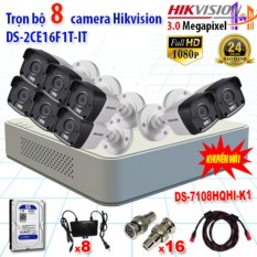 Trọn bộ 8 camrea 3.0MP DS-2CE16F1T-IT + DS-7108HQHI-K1