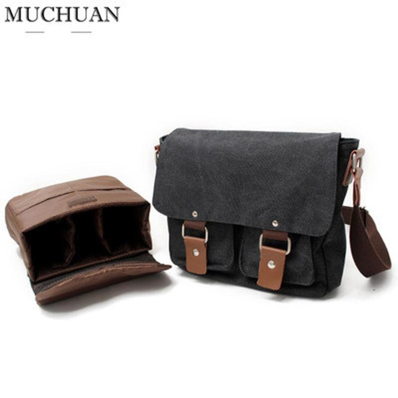Túi chống sốc máy ảnh thời trang Muchuan Canvas 2101 đeo hông (đen ghi)
