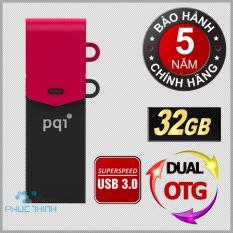USB 3.0 OTG 32GB Dual PQI CONNECT 301 (Đen phối đỏ)
