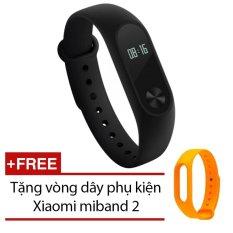 Vòng đeo tay Xiaomi Miband 2 (Đen) + Tặng dây đeo Xiaomi Miband 2 (Cam)