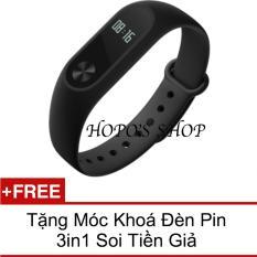 Vong Đeo Tay Xiaomi Miband 2 Đen Tặng Moc Khoa Đen Pin 3In1 Soi Tiền Giả Trong Hồ Chí Minh
