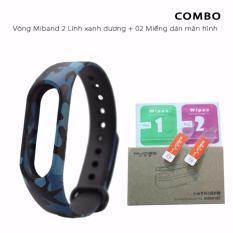 Hình ảnh Vòng đeo thay thế miband 2 màu lính + 02 miếng dán màn hình