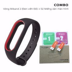 Vòng đeo thay thế Mijobs miband 2 viền màu (đen viền đỏ)+ 2 miếng dán