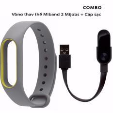 Hình ảnh Vòng đeo thay thế Mijobs miband 2 xám viền vàng + cáp sạc miband 2