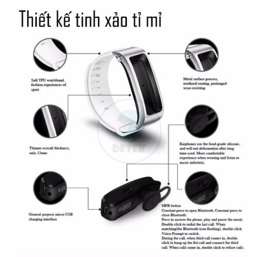 Đồng hồ theo dõi sức khỏe thông minh kiêm tai nghe Bluetooth DeTeK