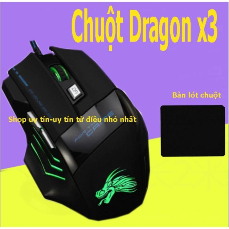 (Xem Video)Chuột chơi game có dây Dragon X3  (Đen) + Tặng miếng lót chuột