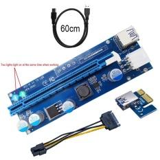 Hình ảnh YBC 60 cm Pci-e Card Nâng 1X Để 16X Mở Rộng Có Đèn led USB3.0 Cáp SATA 6Pin Điện cung cấp-quốc tế