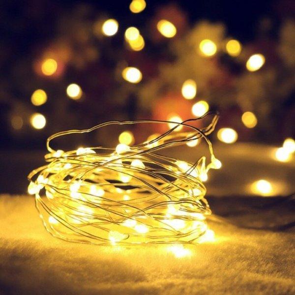 Dây đèn led fairylight, dây đèn đom đóm 3 Mét 30 bóng dùng pin màu vàng ấm/ đủ màu derco trang trí nhà cửa