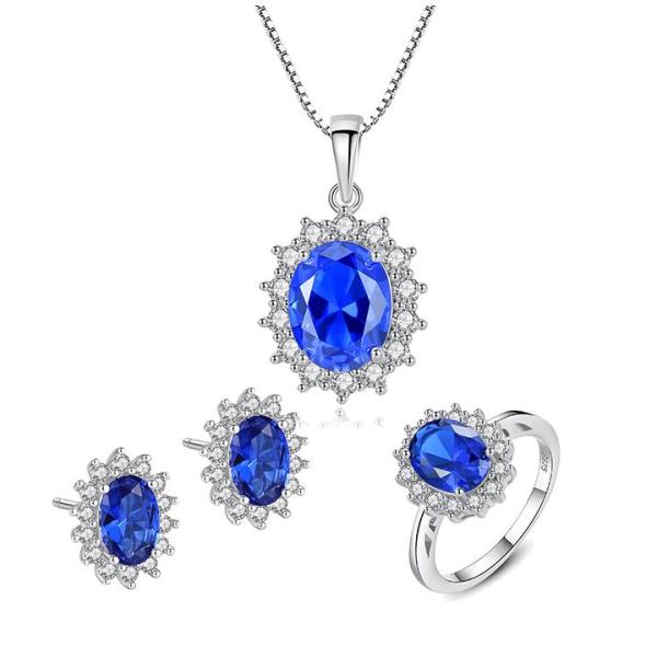 Bộ Trang Sức Bạc Nữ Đính Đá Màu Xanh Lam 3 Món BNT620 Bảo Ngọc Jewelry _ THIẾT KẾ ĐỘC QUYỀN