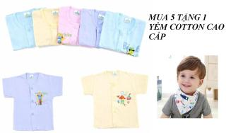 Áo Sơ Sinh Tay Ngắn Màu Cho Bé 0 - 18 Tháng Mua 5 chiếc tặng 1 yếm cotton cao cấp thumbnail