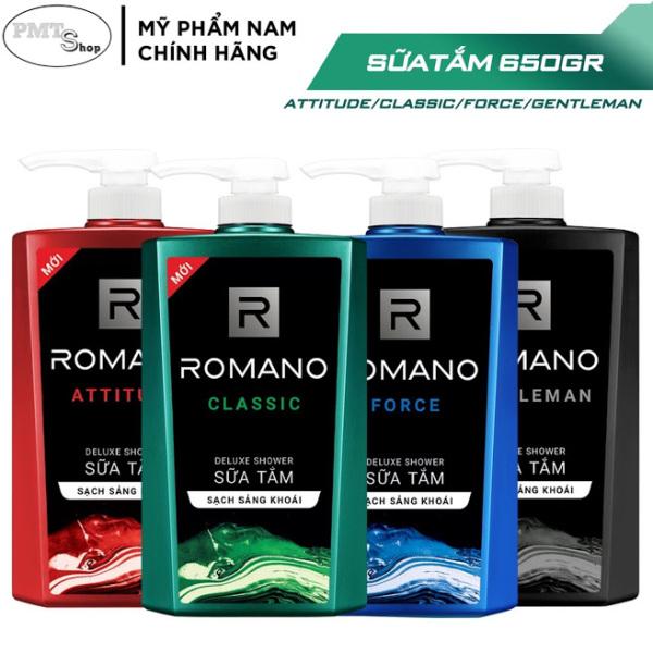 1 chai Sữa tắm nam Romano hương nước hoa 650g Classic | Force | Attitude | Gentleman 650ml