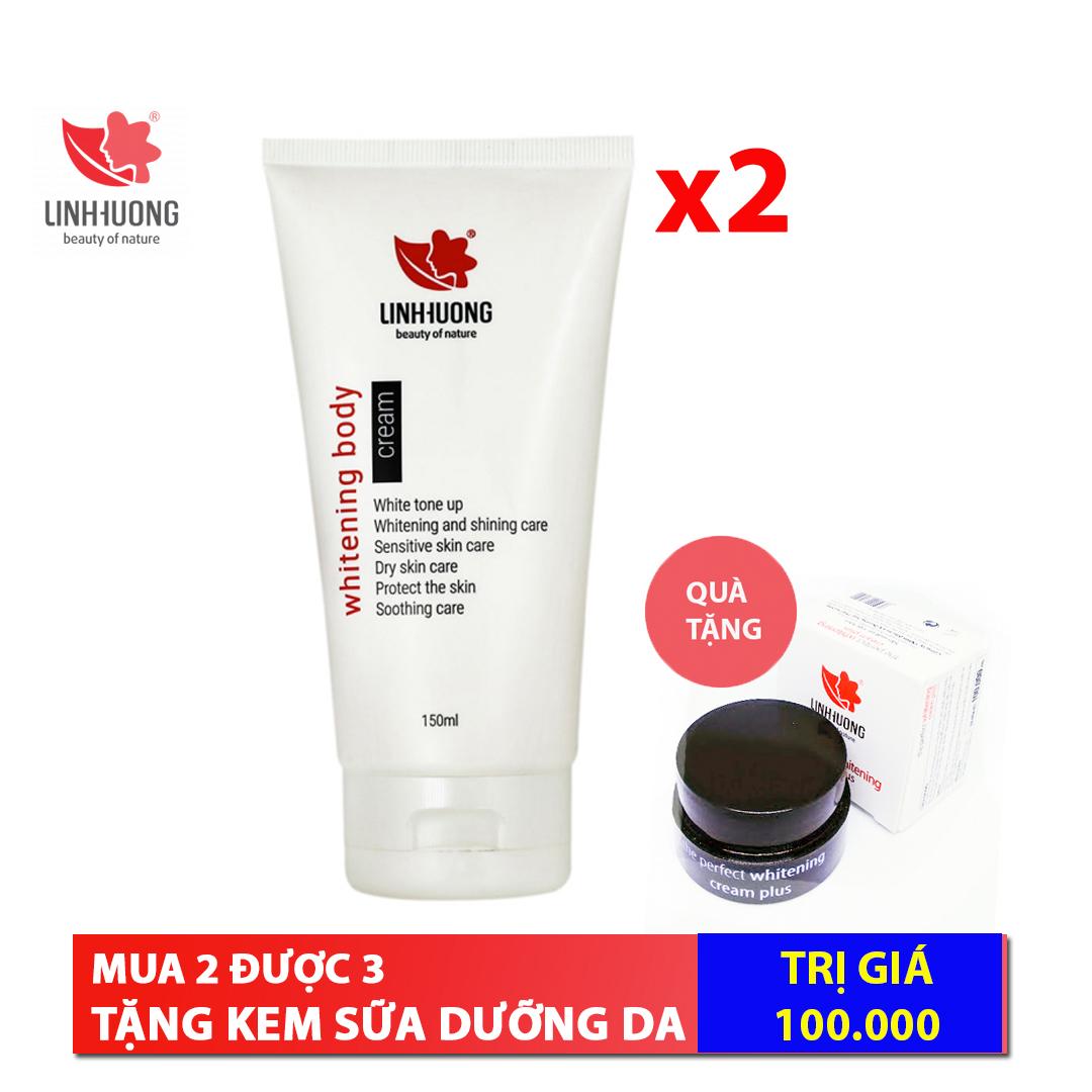 Linh Hương Combo: 2 hộp Kem body trắng da chống nắng Whitening Body Cream 100ml cao cấp
