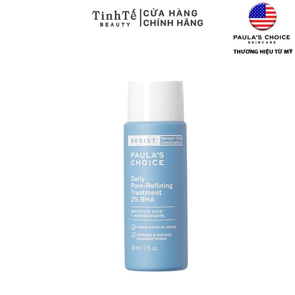 Tinh chất hỗ trợ thu mịn lỗ chân lông 2% BHA Paulas Choice Resist Daily Pore refining treatment 2% BHA 30ml