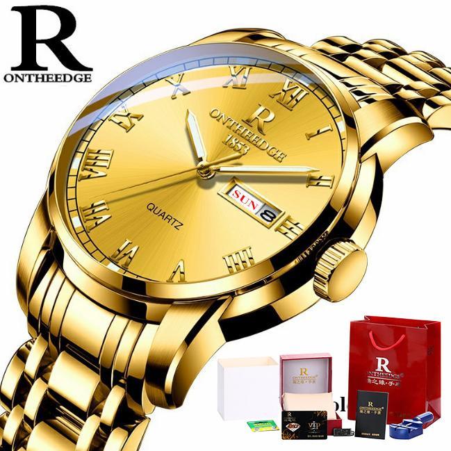 [Fullbox tặng pin + cắt dây] Đồng hồ nam Ontheedge RZY031 dây kim loại (Full Gold) bán chạy