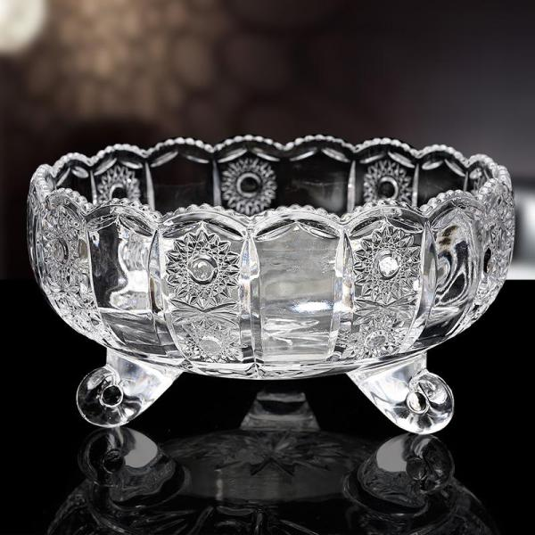 Glass Large Size Fruit Plate Household Creative Crystal Fruit Bowl with Feet guo dou Kitchen Small Delicacy Living Room Teapoy Table Decoration