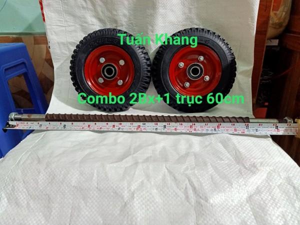 Combo 2 bánh xe 20cm và trục 60cm răn 17ly