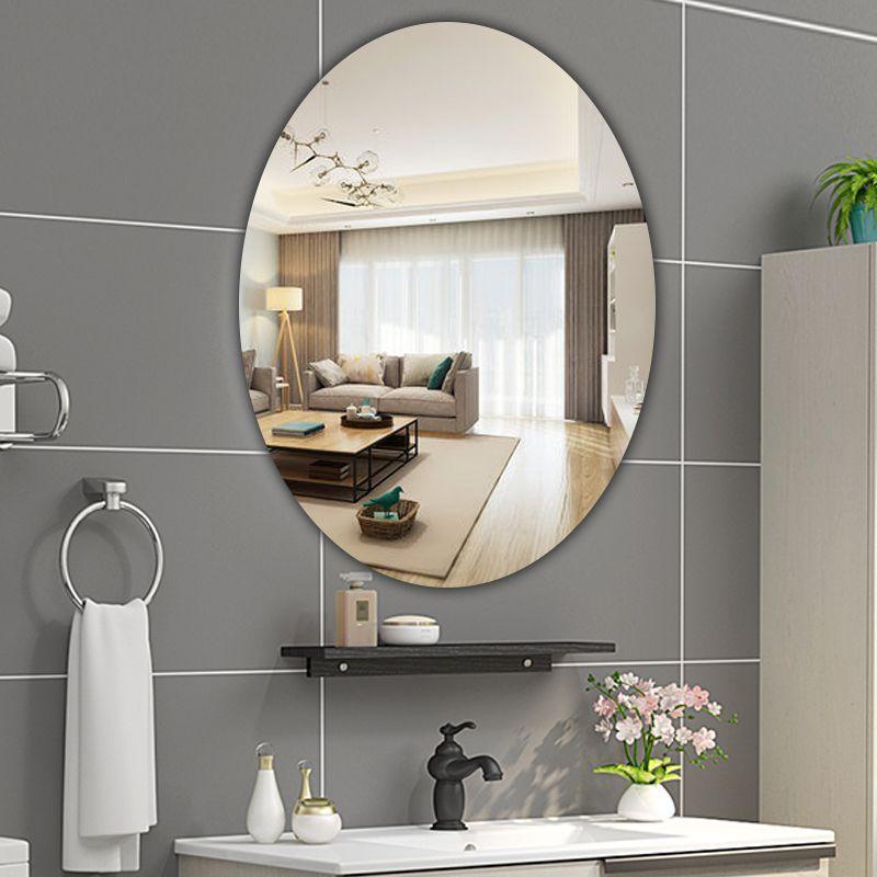 Gương Dán Tường Cá Tính Nghệ Thuật Trang Trí Gương Hình Bầu Dục Tự Dính Phòng Tắm Trang Trí Dán 2020 Mới Đơn Giản Phong Cách Bắc Âu , Gương Ốp Tường Dán Keo Tự Dính, Gương Phòng Tắm Cao Cấp Hình Thoi
