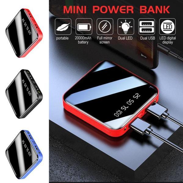 Pin Sạc Dự Phòng mini Siêu Mỏng Mặt Kính Nhỏ Gọn Power Bank 20.000mAh Đèn Led Chữ Số 2 Cổng Đầu Ra USB , BH 12 THÁNG , LỖI 1 ĐỔI 1