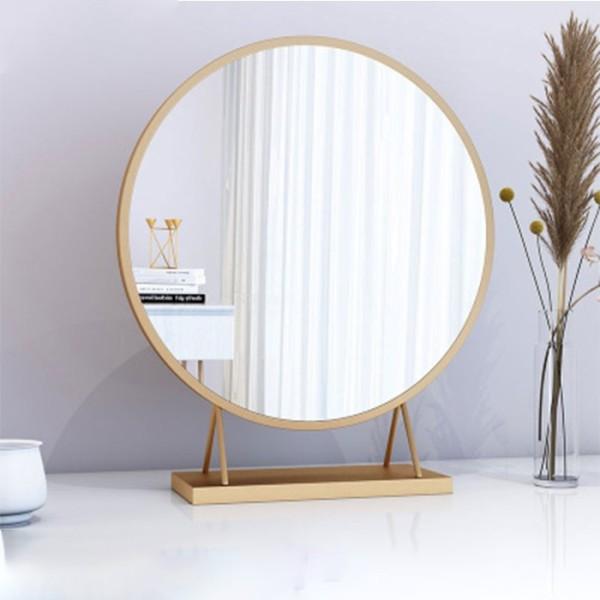 Gương Để Bàn Trang Điểm Hàn Quốc 40Cm Màu Vàng Trắng - Gương Trang Điểm Đẹp Decor Trang Trí Phòng Ngủ Và Quà Tặng Bạn