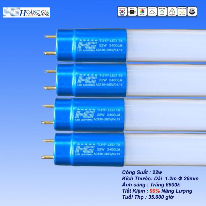 Combo 4 Bóng LED Tuýp 22w 1.2m Đầu Nhôm
