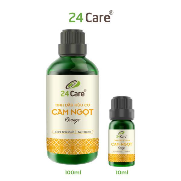 Tinh dầu thiên nhiên Cam Ngọt 100ml 24Care  - xông phòng, dưỡng da, chăm sóc răng miệng, thúc đẩy tâm trạng tốt