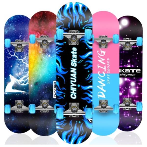 Ván Trượt Thể Thao Cỡ Lớn Vân Họa Tiết Cao Cấp,Ván Trượt Skateboard Cao Cấp, Ván Trượt Mặt Nhám Bánh Cao Su Cỡ Lớn (Đạt Chuẩn Thi Đấu) Ván Trượt Thể Thao Gỗ Phong Ép 8 Lớp-Dòng Cao Cấp Trục Kim Loai