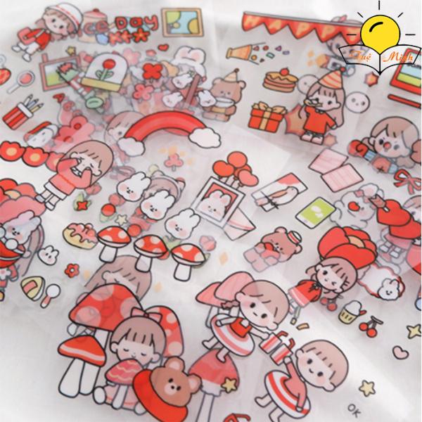 Set 20 tấm 100 miếng sticker nhãn dán nhãn dán dễ thương trang trí sổ tay, laptop, ốp điện thoại...