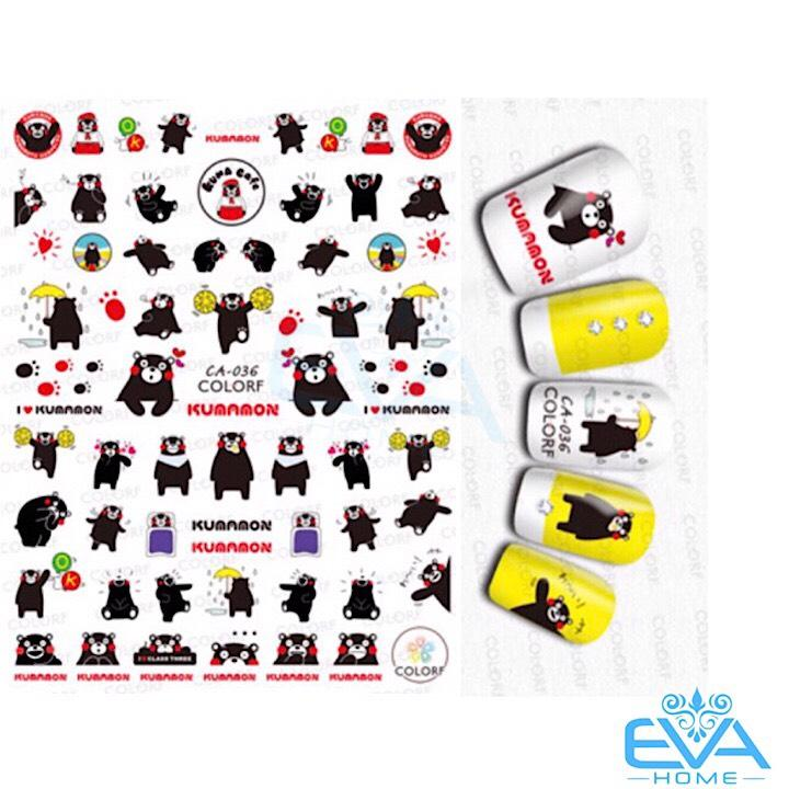 Miếng Dán Móng Tay 3D Nail Sticker Tráng Trí Hoạt Hình Chú Gấu Kumamon CA036 tốt nhất