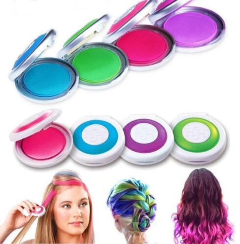 Bộ 4 hộp phấn nhuộm tóc tạm thời - giúp bạn thể hiện cá tính của mình mà không tốn nhiều thời gian và công sức - Phấn nhuộm tóc - Phấn tạo màu tóc - Nhuộm tóc tạm thời - Nhuộm tóc tại nhà