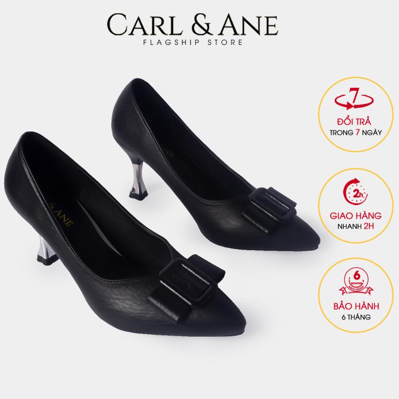Carl & Ane - Giày cao gót thời trang nữ mũi nhọn đính khóa vuông kiểu dáng công sở cao 4cm CP008 (BA) giá rẻ